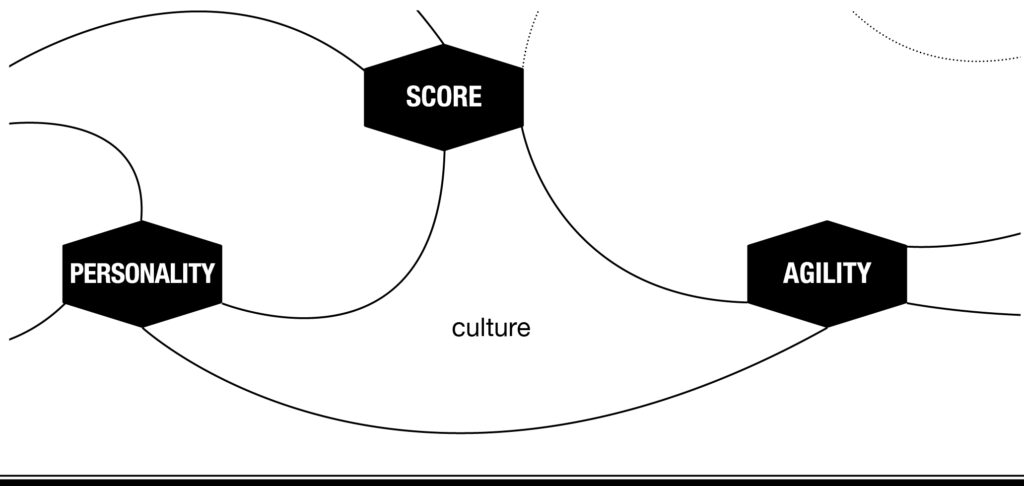 The PERSONALITY, SCORE and AGILITY cues build the culture triangle in music thinking. The Golden Circle fom Simon Sinek is distributed over PERSONALITY the why, SCORE this is the what and AGILITY the how. The play together.